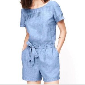 Loft Chambray Romper w/ Tie Belt and Pockets! 12/L